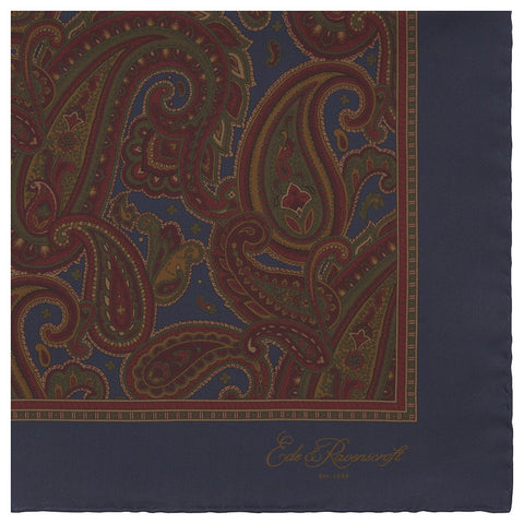 Burgundy and Blue Antique Paisley Printed Silk Pocket Square