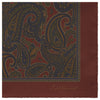Orange and Brown Antique Paisley Printed Silk Pocket Square