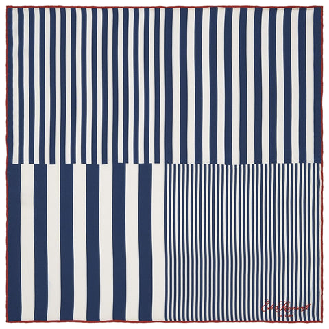Navy Gradient Stripe Printed Silk Pocket Square
