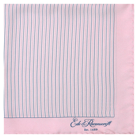 Pink Stripe Printed Silk Pocket Square