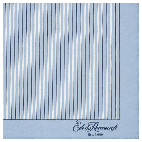 Blue Stripe Printed Silk Pocket Square
