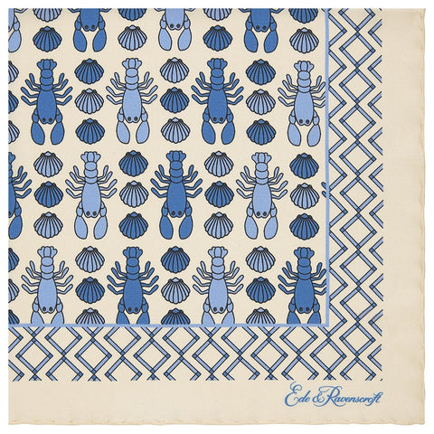 Cream Lobster and Shell Pattern Border Printed Silk Pocket Square