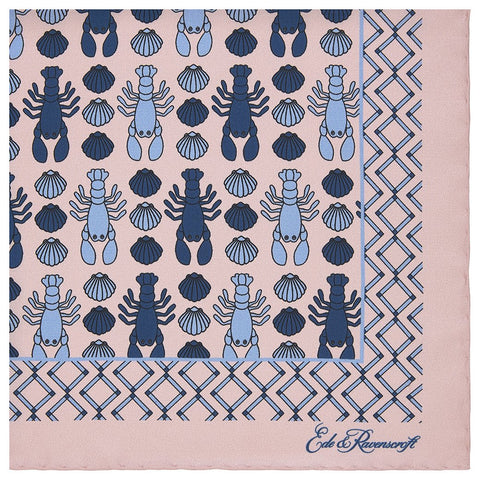 Pink Lobster and Shell Pattern Border Printed Silk Pocket Square
