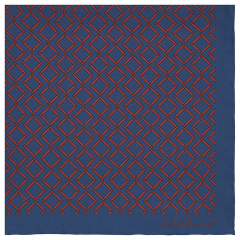 Blue and Red Geometric Printed Silk Pocket Square