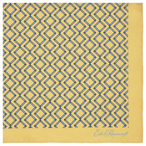 Yellow and Blue Geometric Printed Silk Pocket Square