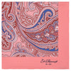 Pink Large Paisley Printed Silk Pocket Square