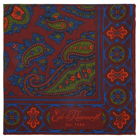 Purple and Green Paisley Double Sided Print Silk Pocket Square