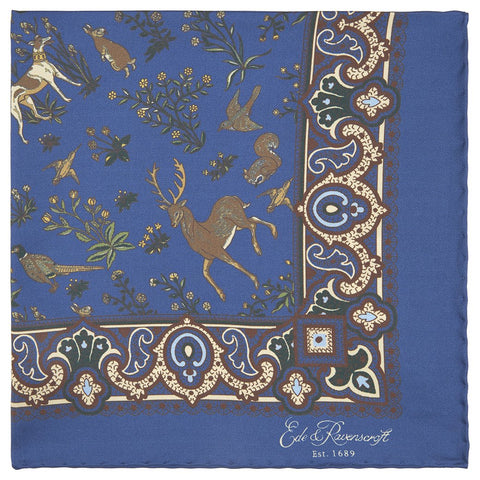 Blue Woodland Print Silk Pocket Square