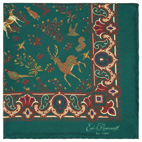 Green Woodland Print Silk Pocket Square