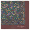 Green and Brown Paisley Print Silk Pocket Square