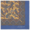 Yellow and Blue Paisley Print Silk Pocket Square