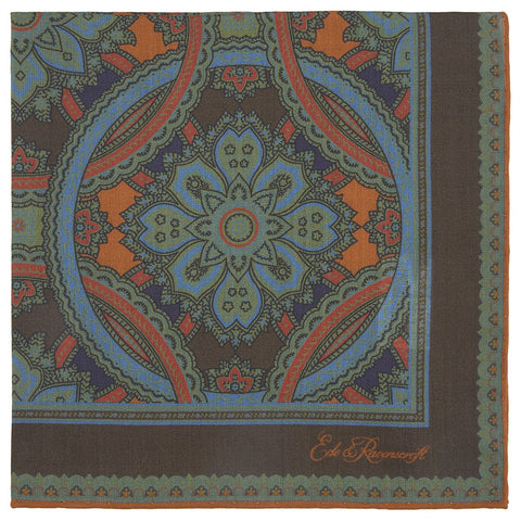 Brown and Green Medallion Silk Wool Print Pocket Square