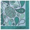 Blue and Green Turtle Silk Printed Pocket Square