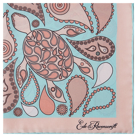 Pink and Mint Turtle Silk Printed Pocket Square