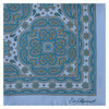 Blue Paisley Printed Silk Pocket Square
