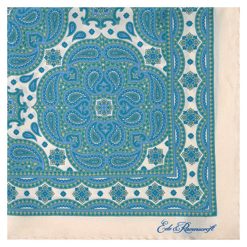 Ecru and Green Paisley Printed Silk Pocket Square