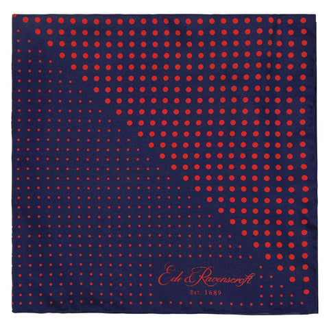 Navy and Red Triangle Spot Print Pocket Square