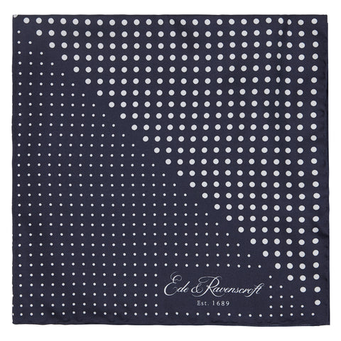 Navy and White Triangle Spot Print Pocket Square