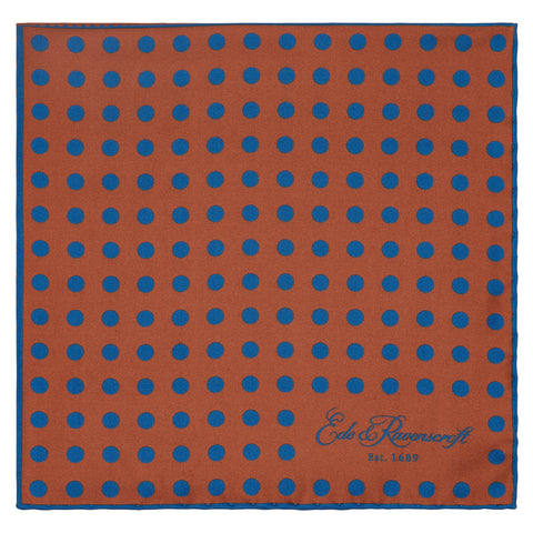 Teal and Rust Four Spot Print Pocket Square