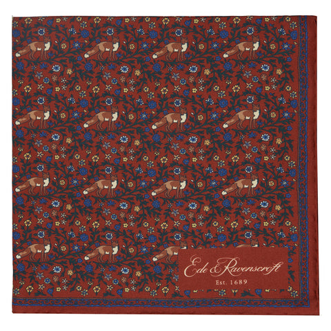 Red Fox Floral Print Pocket Square