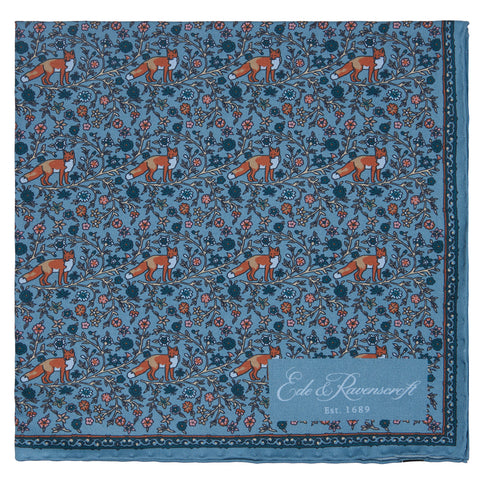 Teal Fox Floral Print Pocket Square