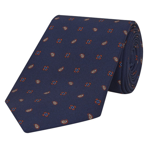 Navy Paisley Medallion Printed Silk Tie
