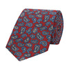 Navy and Red Paisley Madder Teardrop Printed Silk Tie