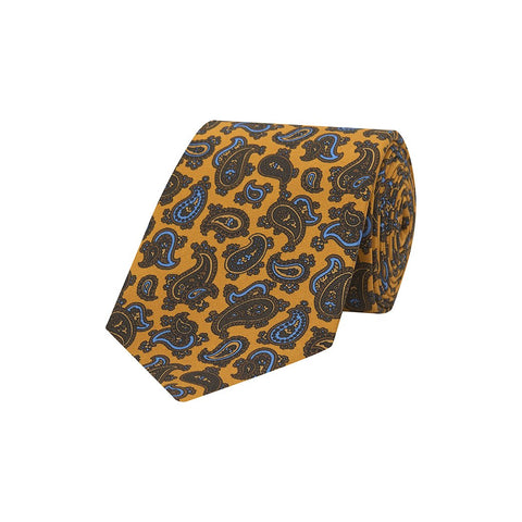 Yellow and Blue Paisley Teardrop Printed Silk Tie