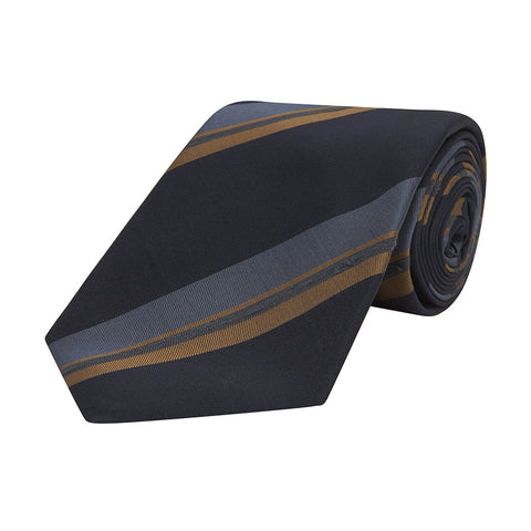 Navy Irregular Stripe Fine Twill Woven Silk Tie