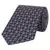 Navy and Red Geometric Dimond Woven Silk Tie