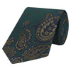 Green Placement Large Paisley Jacquard  Silk Tie