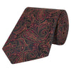 Black and Pink Paisley Sateen Woven Silk Tie