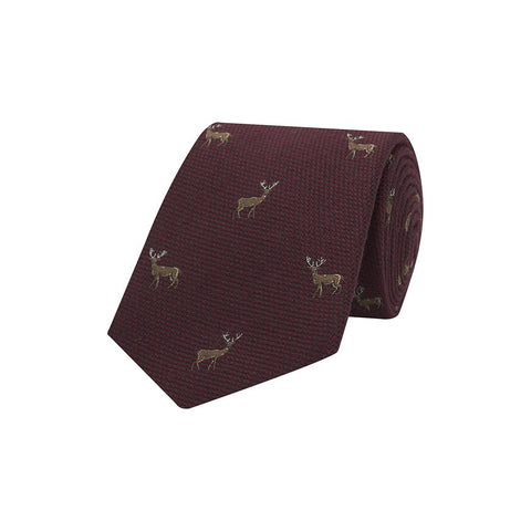 Burgundy Novelty Stag Hopsack Woven Wool Silk Tie