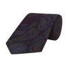 Navy Engineered Paisley Textured Woven Silk Tie