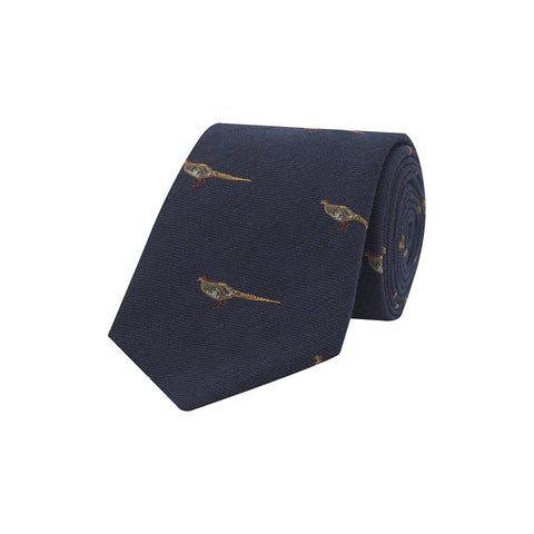 Navy Novelty Pheasant Hopsack Woven Wool Silk Tie