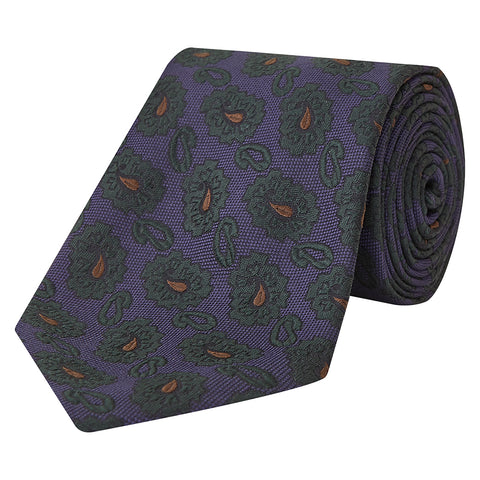 Navy and Green Large Teardrop Woven Silk Tie