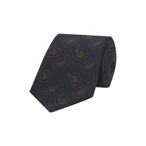Navy and Brown Large Teardrop Paisley Textured Woven Silk Tie