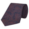 Navy and Red Paisley Repeat Silk Wool Woven Tie