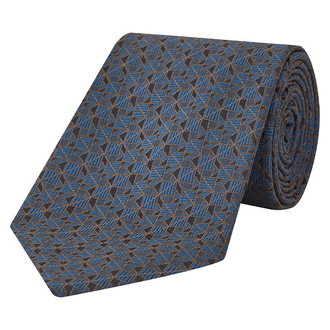 Teal Square Triange Woven Silk Tie