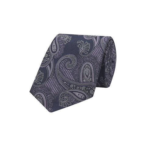 Navy and Purple Paisley Houndstooth Sateen Woven Silk Tie