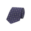 Purple and White Medallion Paisley Diamond Textured Woven Silk Tie