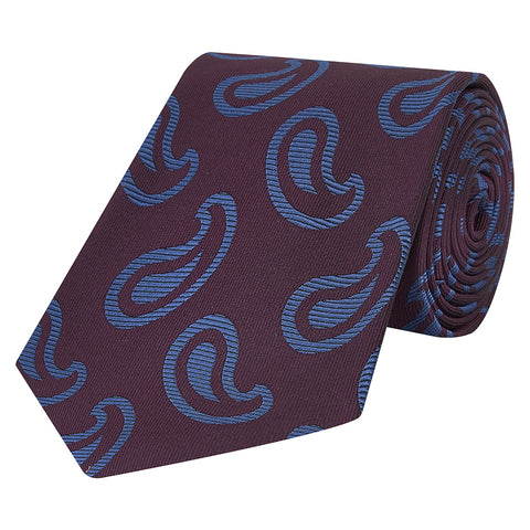 Purple and Blue Teardrop Paisley Woven Silk Tie