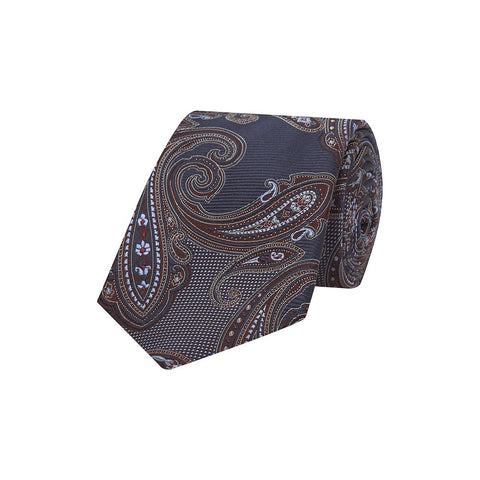 Navy and Brown Paisley Oversized Heavy Twill Woven Silk Tie