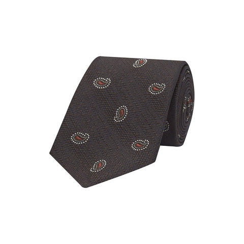 Brown and Orange Teardrop Paisley Textured Woven Silk Tie