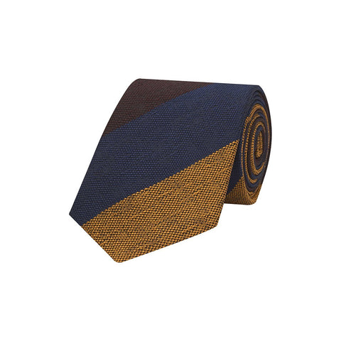 Yellow and Navy Wide Multi Stripe Hopsack Woven Silk Tie