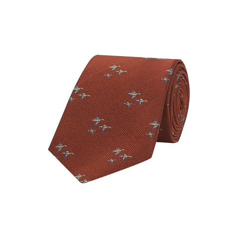 Orange Novelty Flying Geese Woven Silk Tie