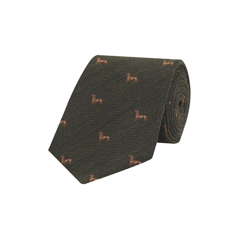 Green and Brown Novelty Beagle Herringbone Woven Wool and Silk Tie