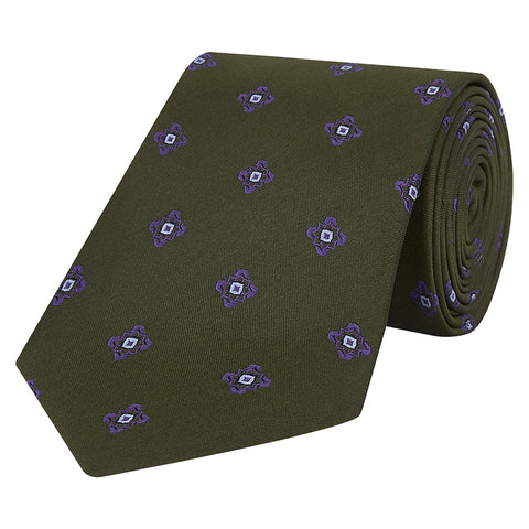 Purple Flower Woven Silk Tie