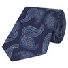 Navy and Blue Paisley Textured Woven Silk Tie