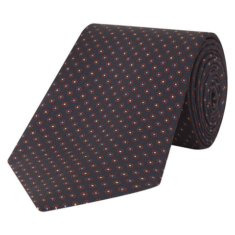 Navy and Red Foulard Daisy Printed Silk Tie
